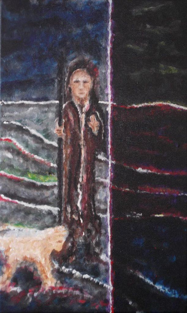 Hüter der Schwelle, Acryl auf Leinwand, 30 x 40 cm, Geert Möbius 4/2018
